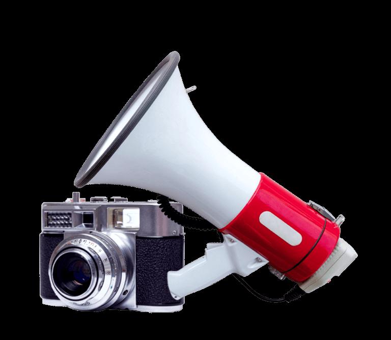 Foto di un megafono e fotocamera